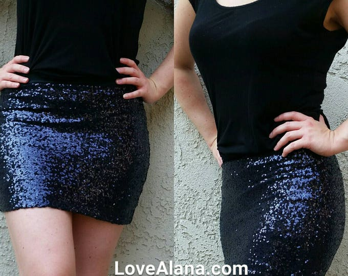 Free Shipping! Navy Blue Sequin Skirt - Mini skirt, full sequins.  Super beautiful in person. Ships asap!