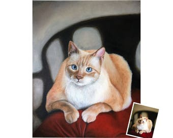 16x20 cat painting from photo custom portrait on canvas acrylic hand painted birthday gift