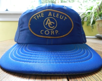 vintage 70s Foam all over Hat Alaska Fishing Native land RARE The Aleut Corp. PATCH mint condition Blue cap snap back new old stock