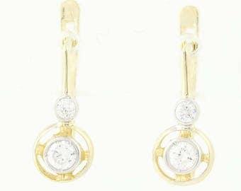 CZ Drop Earrings - 14k Yellow White Gold Pierced Cubic Zirconias 0.38ctw U0211