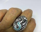 Vintage 1980's Southwestern Real Turquoise Mermaid Men's Ring