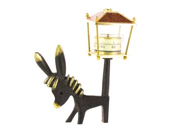 Walter Bosse Donkey Thermometer - Vintage Mid Century Original Austrian 1960s Brass Donkey Figurine Holding a Thermometer