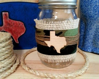 Decorated Mason Jar, Decorative Jar with Camo Fabric, Burlap, Texas Shape, Texas Decor, Table Decor, Rustic Country Farmhouse Decor