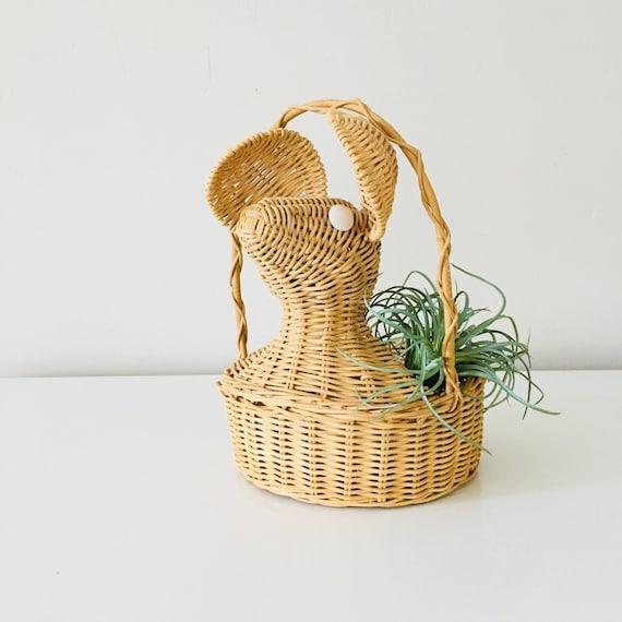 Vintage Wicker Mouse Basket Woven Wicker Animal Shaped Plant Basket Wicker Planter Boho Decor