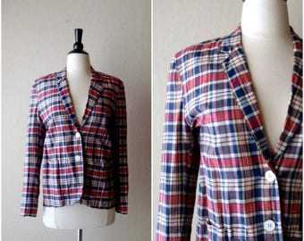 SALE Vintage Hamptons summer plaid blazer / fitted red white and blue plaid jacket / preppy