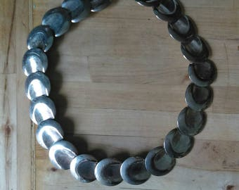 Vintage 1980s silvertone plate statement necklace