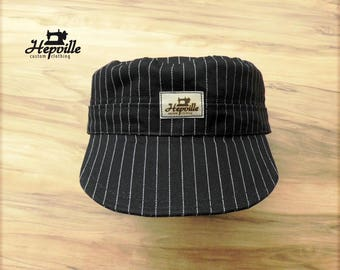 Field Cap Work Cap  - Selvedge Denim - Wabash Ticking Stripe