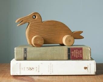 Vintage Handmade Wooden Duck Children's Toy with Wheels
