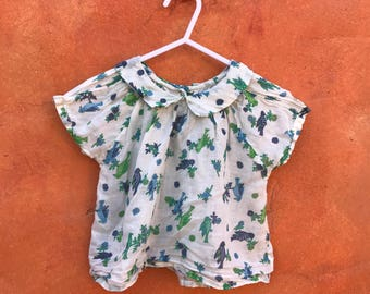Vintage 1950s 1960s Baby toddler girl's cotton top shirt blouse. Blue Green Floral Birds 2T 3T