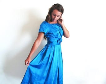 1/2 Off SALE Vintage 50s Blue Dress, Turquoise Cocktail Length Dress, 1950s 60s Blue Satin Dress