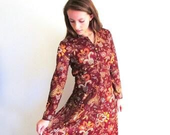 Vintage Long Hippie Dress, 1960 Paisley Maxi