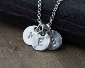 Custom Hand Stamped Initial Necklace for Mom, Personalized Mom Jewelry, Gift for Women, Personalized Womens Jewelry