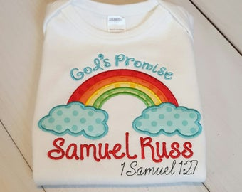 Rainbow Baby God's Promise-with Red Name Boys Version--Embroidered bodysuit