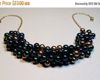 30% OFF SALE thru Mon Navy Blue Teal Gold Pearl Cluster Necklace, Wedding Bridesmaid Valentines Mothers Day Jewelry Gift, Mom Sister Grandmo