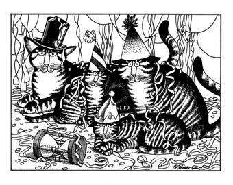 Kliban Cat Cartoon, original vintage art print, Christmas party cat
