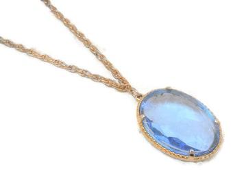 Vintage Faceted Blue Glass Necklace