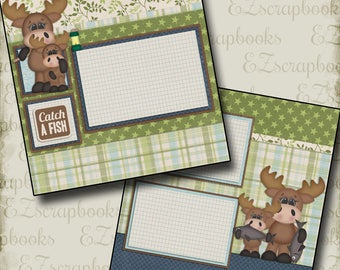 CATCH A FISH - 2 Premade Scrapbook Pages - EZ Layout 432