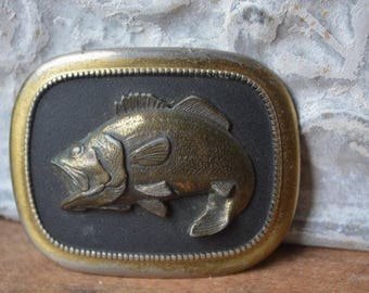 Vintage Belt Buckle, Vintage Brass Bass Fish Belt Buckle