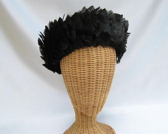 Vintage Ladies Evelyn Varon Hat Black Feathers Upturned Brim