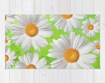 Daisy Rug, Area Rug, Floor Rugs, Modern Carpet, Home Decor, Bright Colorful Design Rug, White Green Yellow Grey flower, garden, bloom Nature