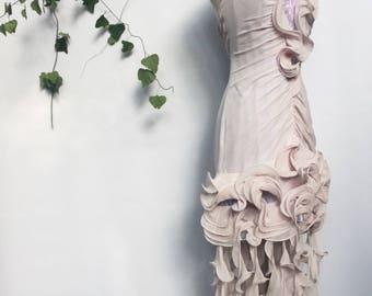 Alberto Makali New York Paris Milan evening dress - designer lilac hourglass ruffled halter cocktail dress - medium