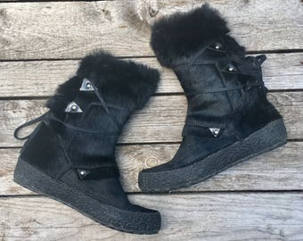 7 US | Women's Winter Boots by TECNICA Black Furry Snow Boots Fleece Lined