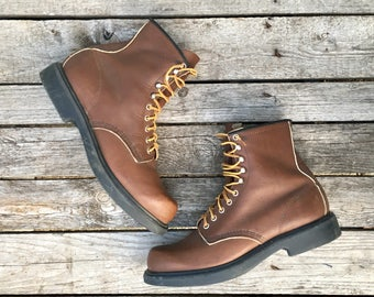 11 B | Men's Vintage Round Toe Brown Red Wing Lace Up Work Boots