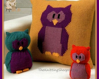 PDF Knitting Pattern For an Owl Cushion Cover, Doorstop & Toy - Instant Download