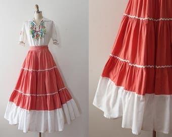 vintage 1940s patio skirt // 40s peachy cotton long maxi patio skirt