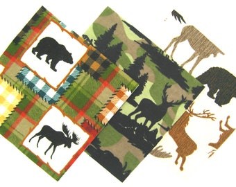 """36 Flannel Fabric Pre Cut 6""""x6"""" Quilt Squares in Wildlife Patch and Camo Matching Prints"""