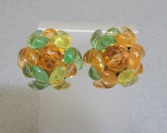 1960s Citrusy Colored Beaded Clip On Earrings, Plastic Bead Clip On Earrings