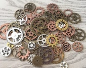 150 Gram Assortment Metal Steampunk Wheels, Cogs, Steampunk Supplies