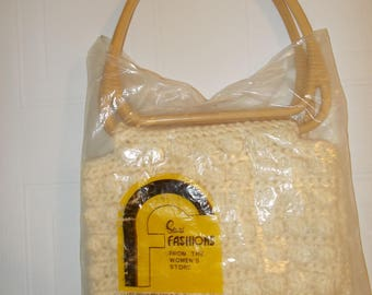 Off White Macrame Purse Vintage New with Tags Sears Fashions Women's Store