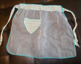 Vintage Apron Sheer white fabric with Blue Plaid Appliqued Heart