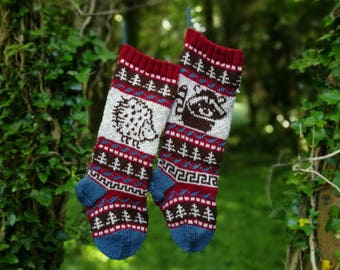 Knit Pattern Hedgehog, Racoon Christmas Stocking, Fair Isle Hedgehog, Fairisle Racoon, Santa Stocking Racoon, Knit your own Santa Socks