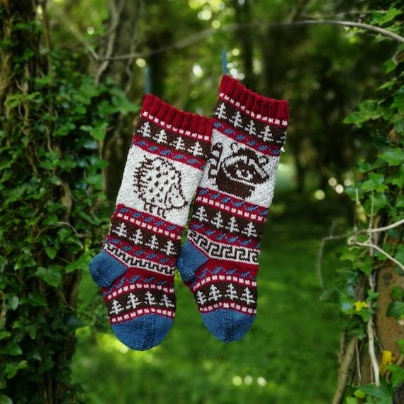 Knit Pattern Hedgehog Racoon Christmas Stocking Fair Isle