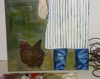 Farmgirl Giclee of (Original Painting on Canvas Shown Above)