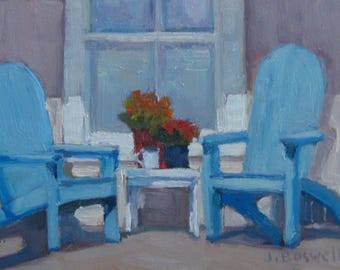 Original Oil Painting Porch Window with Adirondack Chairs Painting Modern Impressionist Jennifer Boswell