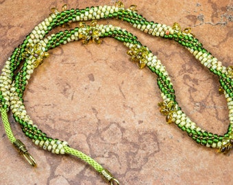 KUMIHIMO NECKLACE - Green Yellow Necklace Spiral Necklace Flower Necklace - Gift for Her Birthday Gift Anniversary Gift Handmade Necklace