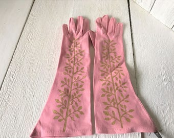 Vintage gloves hand painted pink cotton mid length size medium gold vine/ free shipping US
