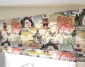 Stationary Faux Roman shade, with lining, oriental toile print by Robert Allen,
