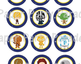 Star Wars DIY Printable Cupcake Toppers Gift Tag - Birthday Party - Baby Shower - Return of the Jedi - Luke Skywalker - R2D2 - Print at Home