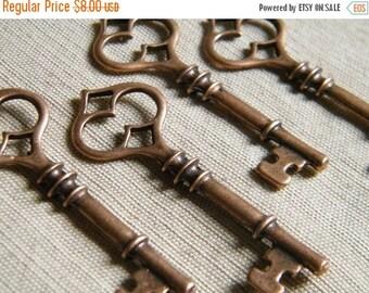 ON SALE Angelou - Skeleton Keys - 10 x Antique Copper Skeleton Key Vintage Keys Large Key Set