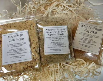 Maple Sugar Spice Rubs, 3 pack of spices.Chili Pepper, Savory Herb and Paprika Spice/Made with Vermont Maple Syrup