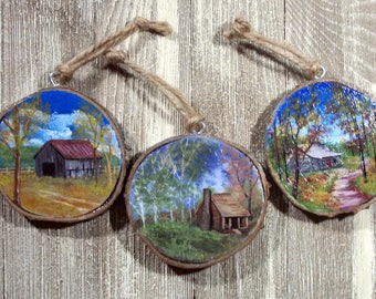 Free Shipping, Set of 3 Rustic ornaments, Maple Wood Ornaments, Appalachian Painter, minature painting on wood, nature, woodland,