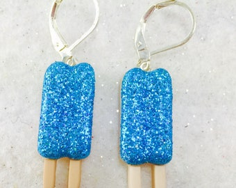 Blue Popsicle Earrings, Summer Dangle Earrings, Glitter Earrings, Summer Food Earring, Button Earrings