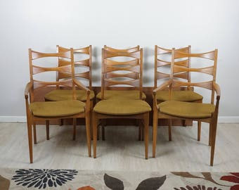 Set of 6 Lane Mid Century dining chairs / Mid Century Modern chairs set / Lane Rhythm diningroom set / Mid Century furniture