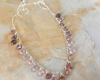 Pink Gemstone Necklace Purple Gemstone Necklace Gemstone Jewelry Silver Necklace Delicate Design Colorful Necklace Pink Jewelry Multi Gems