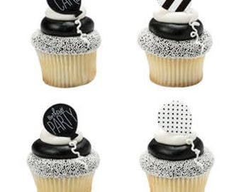 12 Black And White Birthday Cupcake Cake Rings Birthday Party Favors Toppers