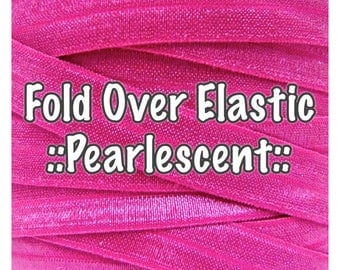 Fold Over Elastic - Plain Pearlescent, for bow making and hair accessories